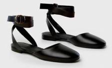 JENNI KAYNE 38 8 BLACK LEATHER BALLET FLATS ANKLE STRAP DESIGNER ROUND TOE ITALY