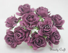 10 Violet Mulberry Paper Rose Flower handmade size 2.5 cm.( 25 mm ) card SW022