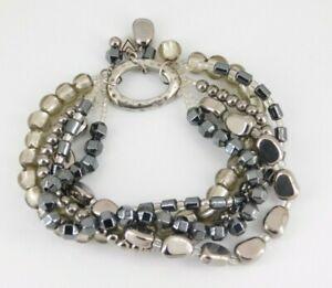Silpada 925 Sterling Silver Hailstone Hematite & Glass Beaded Bracelet B1935
