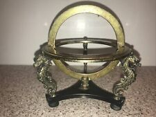Vintage Brass Stand Sphere Missing Globe Dragons Seahorses Japan Plastic Brace
