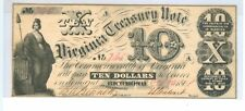 1861 TEN DOLLARS VIRGINIA TREASURY NOTE RICHMOND,VA CR#4 - CIR