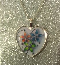 Silver Plated Heart Pendant Necklace Kingdom Hearts Wayfinder Aqua Ven Terra