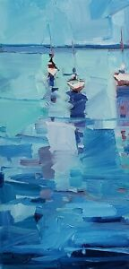 JOSE TRUJILLO Oil Painting IMPRESSIONISM Seascape SEA OCEAN NAUTICAL Boats nr