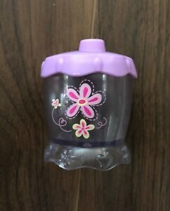 Hasbro Baby Alive Sippy Cup Purple Pink Yellow Flower Replacement RARE Vintage