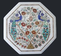 """12"""" Octagon Marble Side Coffee Table Top Multi Peacock & Floral Inlay Decor W398"""