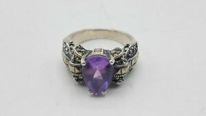 Judith Jack Tested 950 Silver Amethyst & Marcasite Size 7 Ring BT669