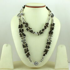 NATURAL SMOKY QUARTZ CHIPS GEMSTONE LONG NECKLACE 101 GRAMS.
