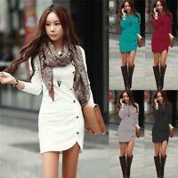 Women Elegant Winter Long Sleeve Buttons Slim Hip Casual Dress Bodycon Dresses ^