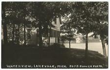 Lakeville Michigan MICH (Oakland County) Waterview Cottage ~ Flower RPPC 1920's