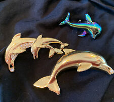Vintage estate lot of 3 dolphin Rhinestone Animal pin brooch jewelry figural