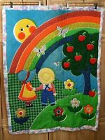 "Handmade Rainbow Farm apple Tree Boy Girl Bonnet Quilt  baby blanket 35"" X45"""