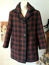 vintage 1960/70's Eclipse Welsh Wool tapestry taupe/red/ black 3/4 coat ~ 10-12