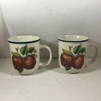 Pair of CHINA PEARL Casuals Apple Pattern Coffee Mugs Cups