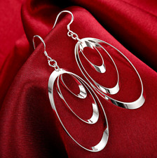 Drop Dangle Charm Earrings Fashion Gift Womens 925 Sterling Silver 3 Hoop Long