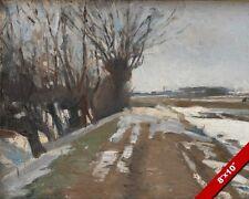 WINTER ROAD PATH LANDSCAPE PAINTING BY ALBERT BIERSTADT ART REAL CANVAS PRINT