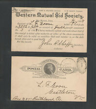 1888 Western Mutual Aid Society Des Moines Iowa Advertising Us Postal Card Ux9