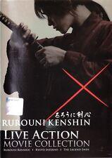 Rurouni Kenshin The Movie 1 - 3 Full Series DVD in English Sub