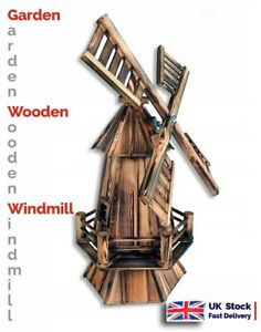 Traditional Dutch Type Garden Wooden Windmill Decor Ornament. Fast UK delivery.