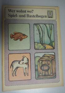 Wer wohnt wo? Spiel und  Bastelbogen 1983 DDR für Kinder ab 4 Jahren ungenutz!