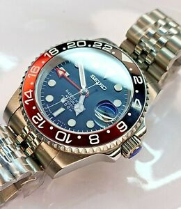 Custom Seiko GMT Black-Red Coke Style Mod 40mm Solid Stainless Steel NH36
