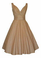 Ladies 40's 50's Vintage Retro Style Pastel Beige Polka Dot Party Tea Dress New