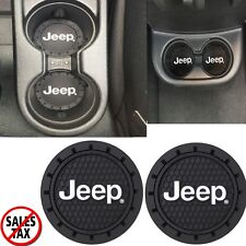 Jeep Logo Cup Holder Trimmed to Fit Coaster Universal 3-1/4 Inches Trim 2 Pack