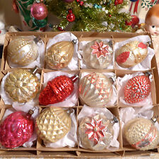 Box 12 Antique Germany Feather Tree Shapes Glass Xmas Ornaments Embossed Paint