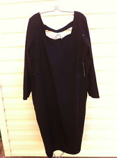 STYLISH ASOS BLACK SQUARE NECK STRETCH DRESS SIZE: 22US/26UK/54EUR NEAR NEW