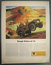 Jeep Prototype very early WWII Ad  First Color Ad  FULL SIZE 10 ½  by 14 inches