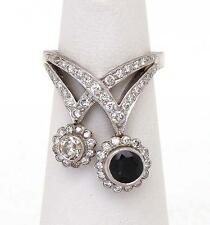 Estate Diamond & Sapphire 18k White Gold Double Floral Stem Long Ring