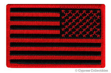 AMERICAN FLAG EMBROIDERED PATCH iron-on BLACK RED US REVERSE subdued LEFT new