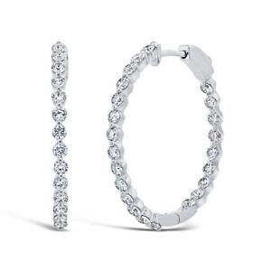 "1.42CT 14K White Gold Natural Round Bezel Diamond Hoop Earrings Inside Out 1.00"""