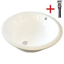 Undermount Round Bathroom Ceramic Vessel Sink Bowl w/ Drain Overflow White New