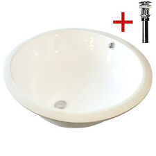 Oval Undermount Bathroom Ceramic Vessel Sink Bowl W/ Drain Overflow White  New