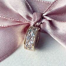 Genuine Used Pandora 14ct Gold Shining Elegance Clip Charm 750842CZ PAIR