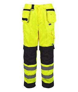 Hi Vis Hi Visibility Craftsman Combat Trouser - Hi Viz Yellow - PCYMTR