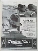 1915 Vintage Mens Mallory Hats Cravenette Hat Fashion  Ad