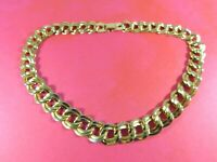 Vintage Statement Choker Necklace Gold Tone Double Link Curb Chain 17.5 Inches