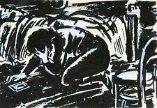 Frans Masereel Trauernde Soldatenwitwe / En deuil um 1941/43 2. Weltkrieg Tusche