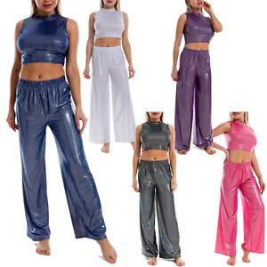 Women Sleeveless Vest Yoga Outfits Crop Top Wide Leg Pants Set 2pcs Clubwear