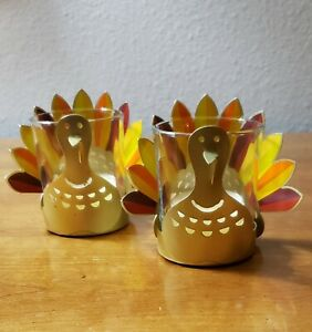 Yankee Candle Holiday Turkey Votive Tea Light Candle Holders Set Of Two