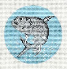 "Tarpon Fish swimming handpainted 4"" Rd. Needlepoint Canvas by Needle Crossings"