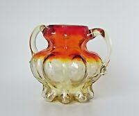 VTG MCM AMBERINA Art Glass Gourd Vase Cup Sugar Bowl Ombre RED YELLOW ORANGE