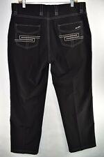Sligo Mens Golf Pants Black Stretch Size 34 Dark Meas. 34x30 Flat Front White