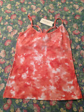 NWT Free Ship! Red Camel Juniors M peach/white strappy back tank / cami top
