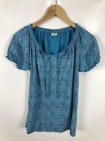 ESPRIT Damen Shirt, Größe M, türkis, gemustert, Blumen, bequem, schick