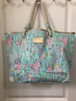 LILLY PULITZER Shoreline Sand Bar Blue Pop Balloon Tote Beach Bag Rope Handles
