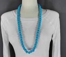 """turquoise wood big bead long 30"""" necklace beaded wooden lightweight"""