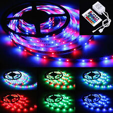 5M 12V RGB SMD3528 LED Strip Tape Light Remote Control Under Cabinet No Adapter