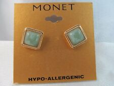 NWT MONET GOLD & GREEN JADEITE SQUARE SHAPED STUD EARRINGS, Detailed, Stunning